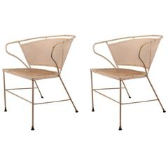 Pair of Metal Mesh Garden Chairs Attributed to Woodard