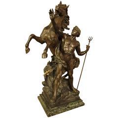 Antique French Statue of Neptune 'Creant Le Cheval'