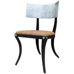 Modern Silver Leaf Steel Klismos Chair with Woven Cane Seat and Black Frame