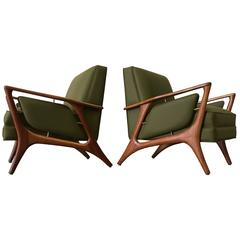 1950s Eugenio Escudero Sculptural Chairs in Military Green Leather