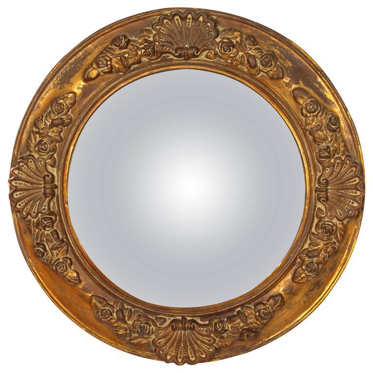 English Regency Period Molded Brass Convex Mirror