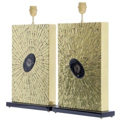 Pair of Brass Mosaic Lamps by Stan Usel