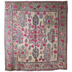 Early 19th Century Ura Tube Suzani, Silk Embroidery, Uzbekistan