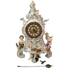 Meissen Gorgeous Mantle /Table Clock Four Elements Sculptured Cherubs circa 1860