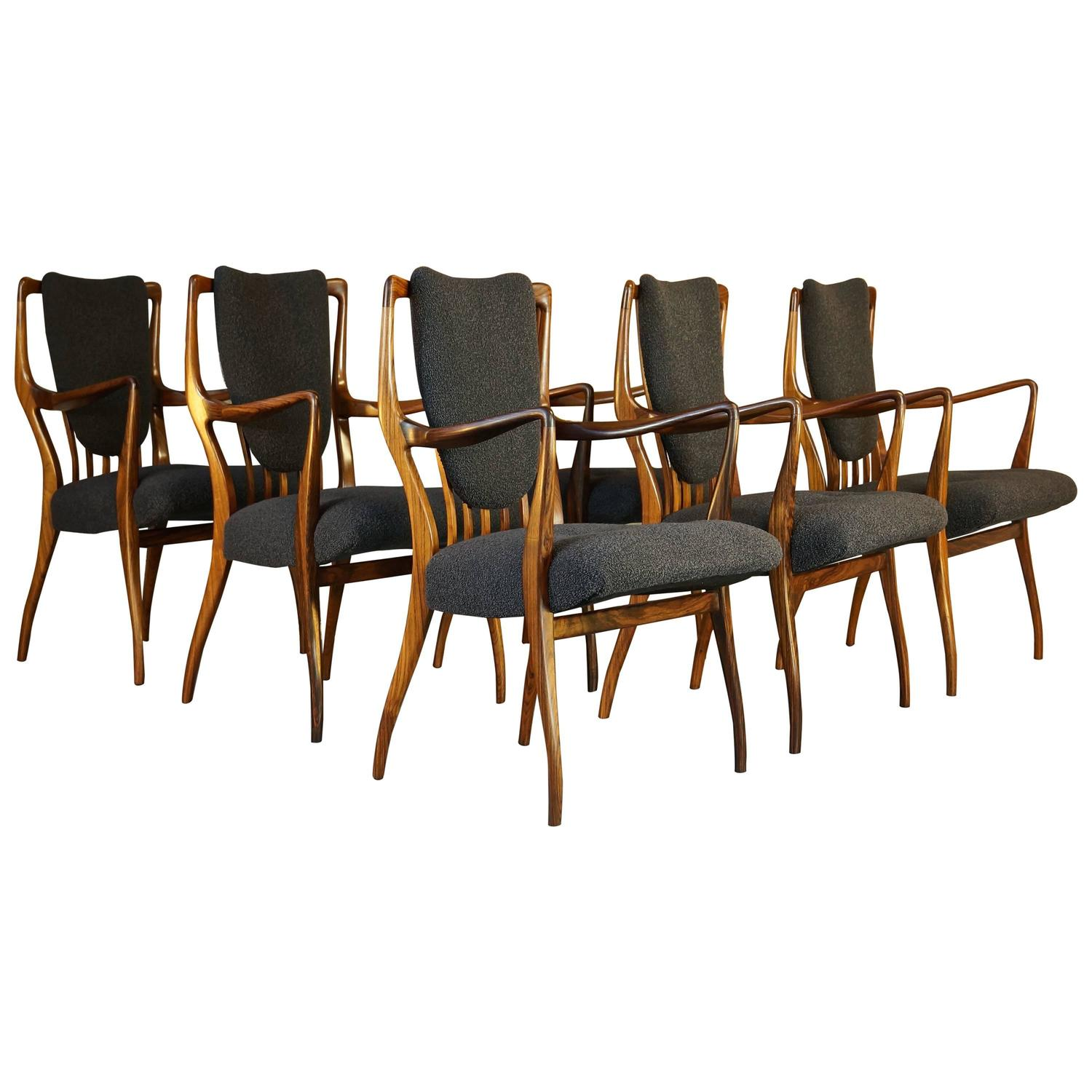 Vintage 1940s Rosewood and Wool Dining Chairs Set of Six by Andrew