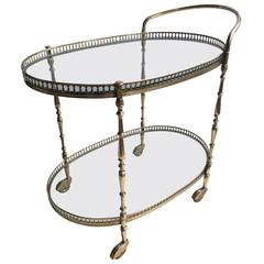 Vintage French Brass Oval Drinks Trolley / Bar Cart
