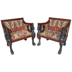 Pair of Egyptian Revival Comfortable Armchairs with Antique Anatolian Kilim
