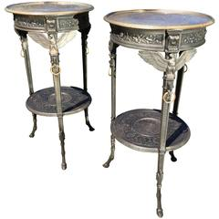 Exceptional Pair of French Neoclassical Polished Cast Iron Side Tables