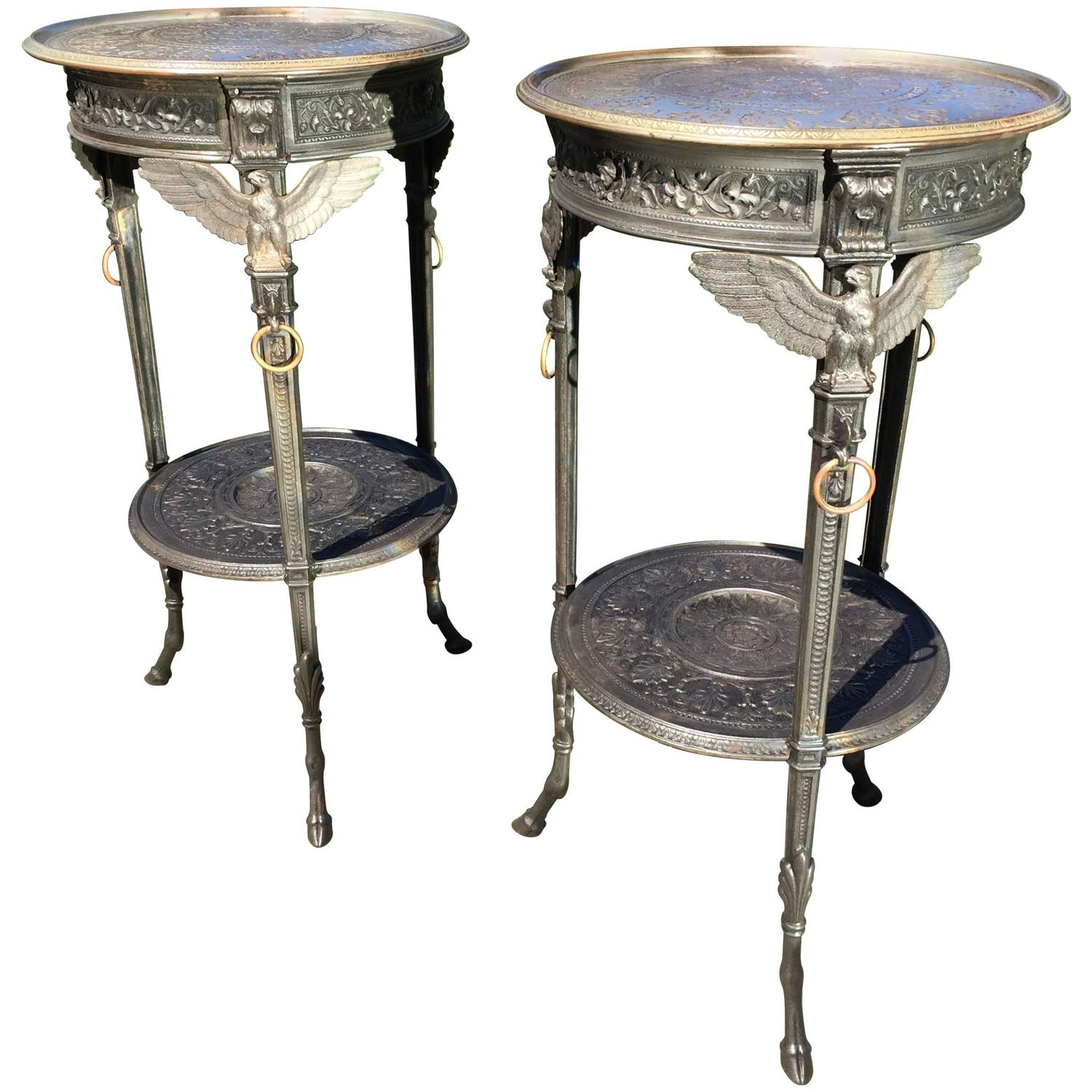 Exceptional pair of french neoclassical polished cast iron for Cast iron end table