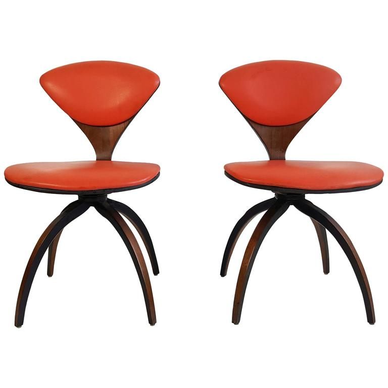 pair of norman cherner swivel chairs for plycraft american circa 1