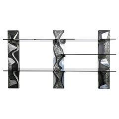 Paul Evans Wall Shelving Custom Argente Columns with Glass Shelving circa 1972