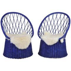 Vintage Pair of 1950s Rattan Royal Blue Club Chairs