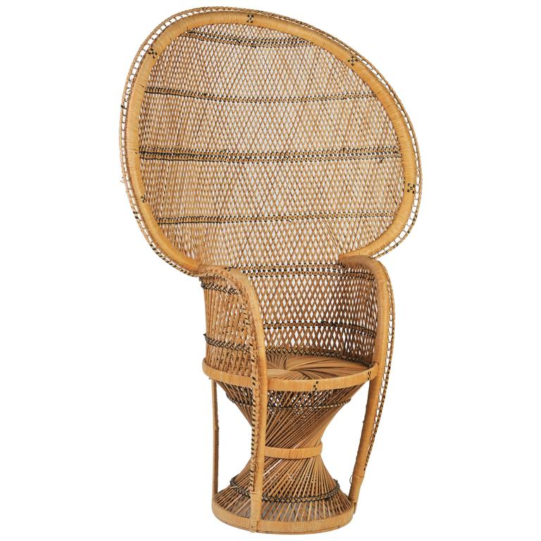 Large Vintage Bohemian 1970s Wicker Emmanuel/Peacock Chair For Sale