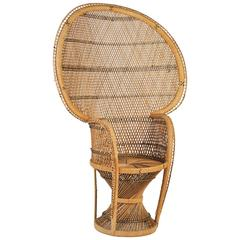 Large Vintage Bohemian 1970s Wicker Emmanuel/Peacock Chair