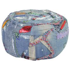 Pouf, Ottomans, Floor cushions, Vintage Denim 'Pouf' 'Art Piece' by Breaad