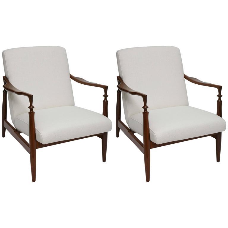 Pair of 1960s Italian Walnut and Silk Lounge Chairs