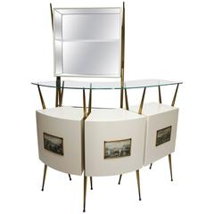 Ponti-Style 1950s Italian Bar Suite with Two Stools and Standing Wall Cabinet