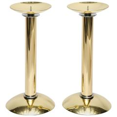 Pair of Polished Brass and Steel Candlesticks by Karl Springer