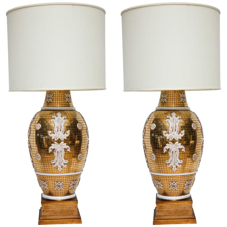 Monumental Pair of Italian Ceramic Lamps by Ugo Zaccagnini for Marbro