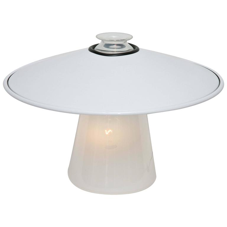 1970s Stilnovo Murano Glass Lamp with Enameled Metal Shade