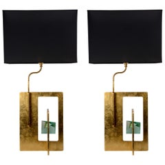 Pair of Brutalist Table Lamps in the Style of Angelo Brotto