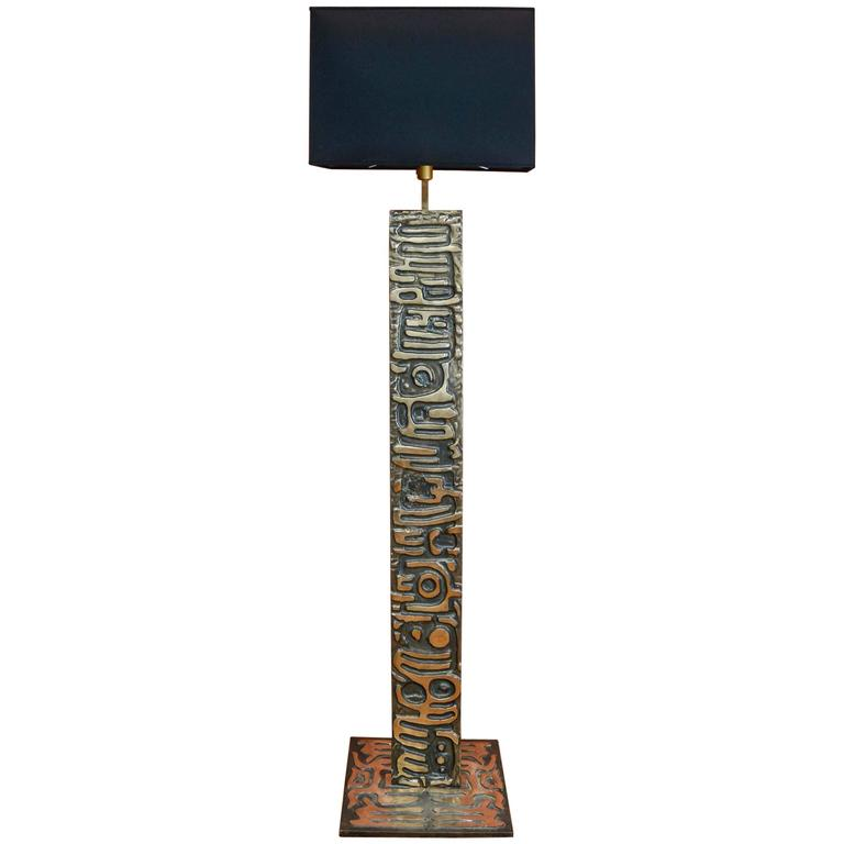Rare Bronze Floor Lamp Signed by Enzo Missoni