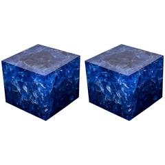 Pair of Fantastic Resin Cube Side Tables by Franco Gavagni