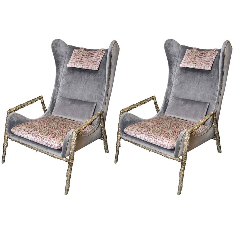 Pair of Contemporary Armchairs For Sale