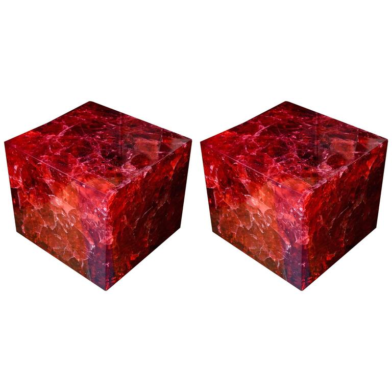 Pair of Crushed Ice Resin Side Tables by Franco Gavagni