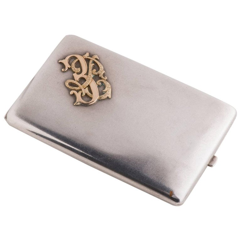 Silver and Gold Antique Personal Card or Cigarette Holder For Sale