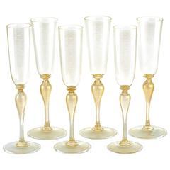 6 Venetian Hand-Blown Champagne Flutes by Martinuzzi