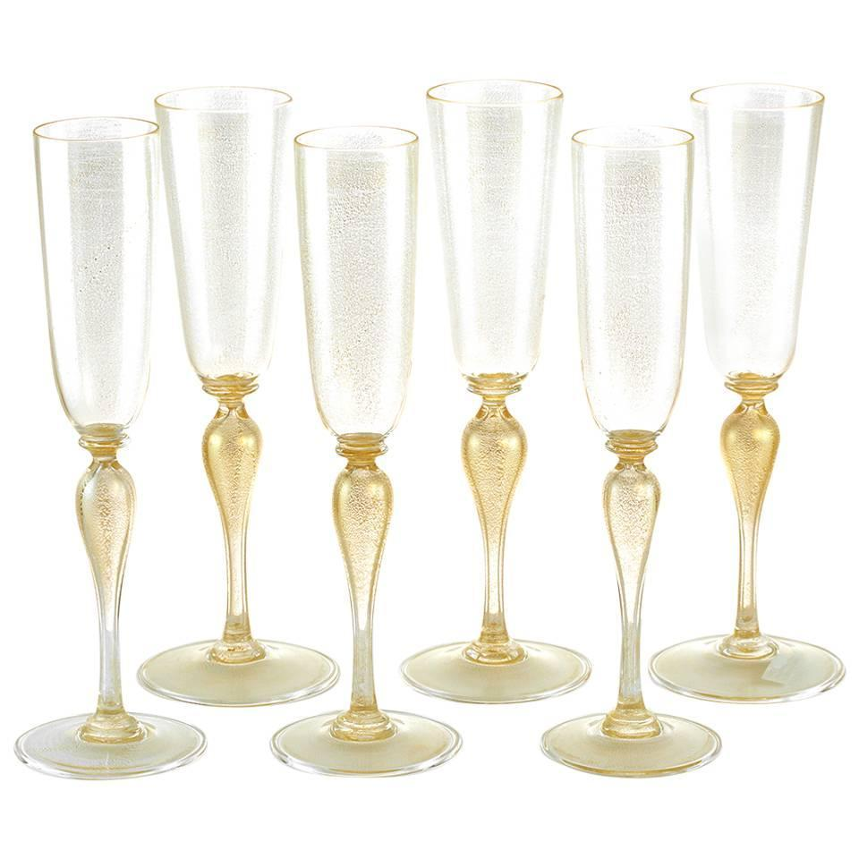 6 venetian hand blown champagne flutes by martinuzzi for sale at 1stdibs - Hand blown champagne flutes ...