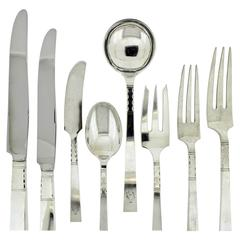 Art Deco Neptune Pattern Sterling Silver Flatware Set by Black, Starr, & Gorham
