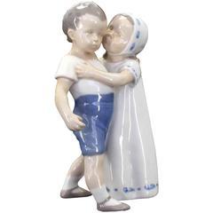 Girl Kissing Boy Royal Copenhagen Porcelain Figurine