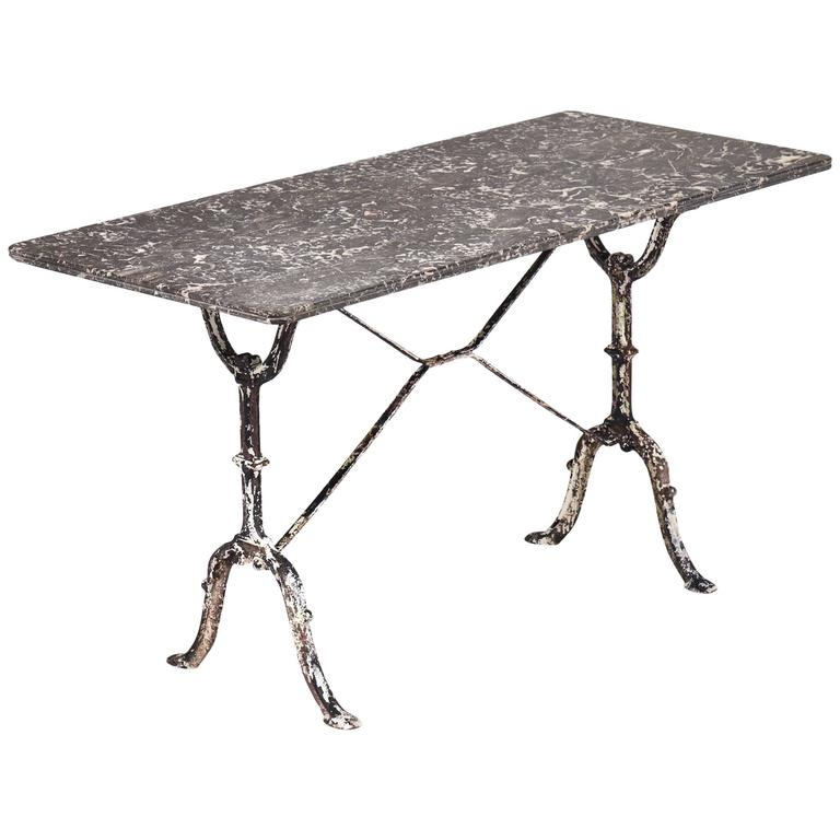 French Antique Marble Top Cast Iron Bistro Table For Sale