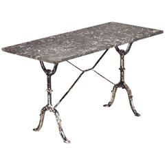 French Antique Marble-Top Cast Iron Bistro Table