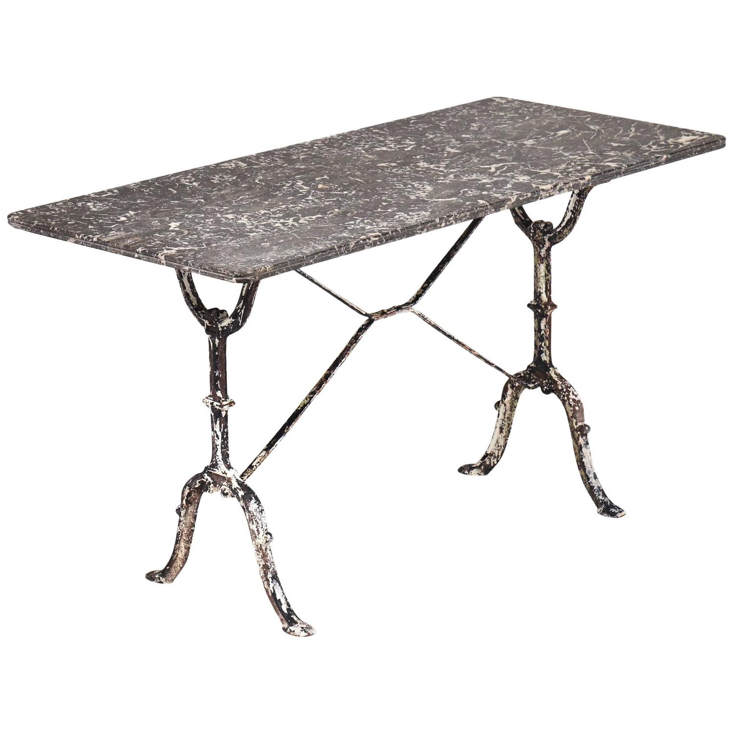 Amazing French Antique Marble Top Cast Iron Bistro Table At 1stdibs
