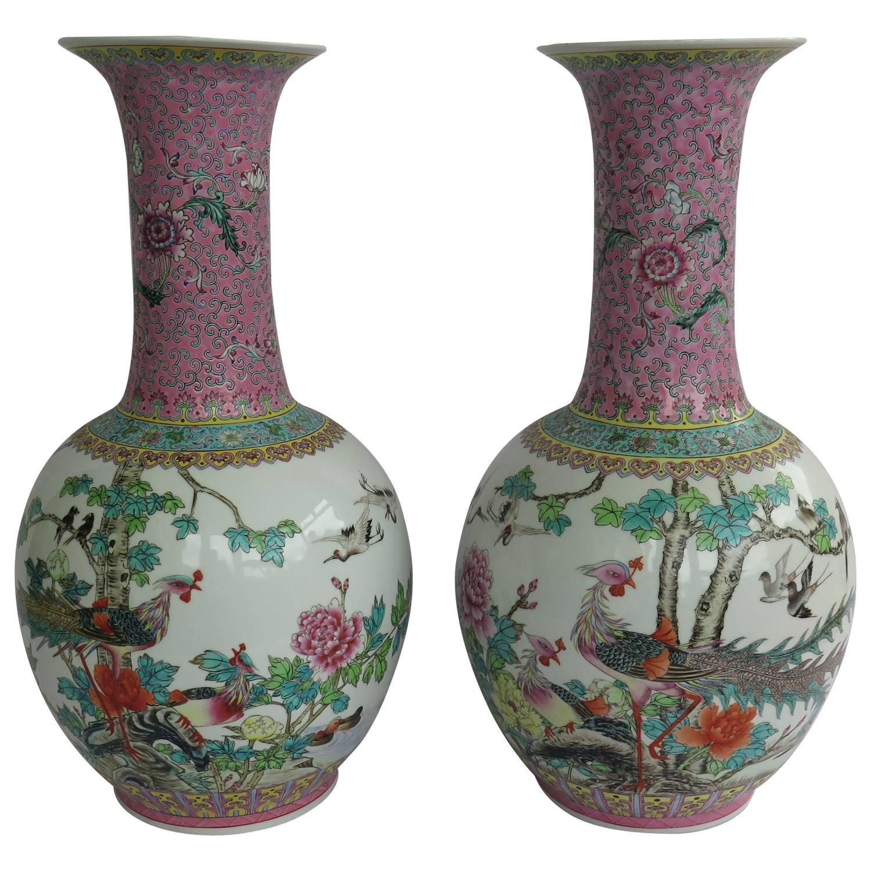 Pair of large chinese porcelain bottle vases famille rose mid pair of large chinese porcelain bottle vases famille rose mid 20th century for sale at 1stdibs reviewsmspy