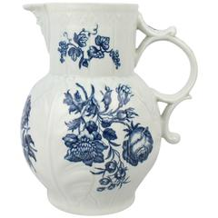 18th Century Worcester Porcelain Dr Wall Period Blue Decorated Cabbage Leaf Jug