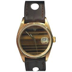 Wonderful and Rare 18-Karat Rolex Datejust with Tiger Eye Dial, Mens Size