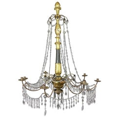 Italian Neoclassic Giltwood and Cut-Glass Chandelier