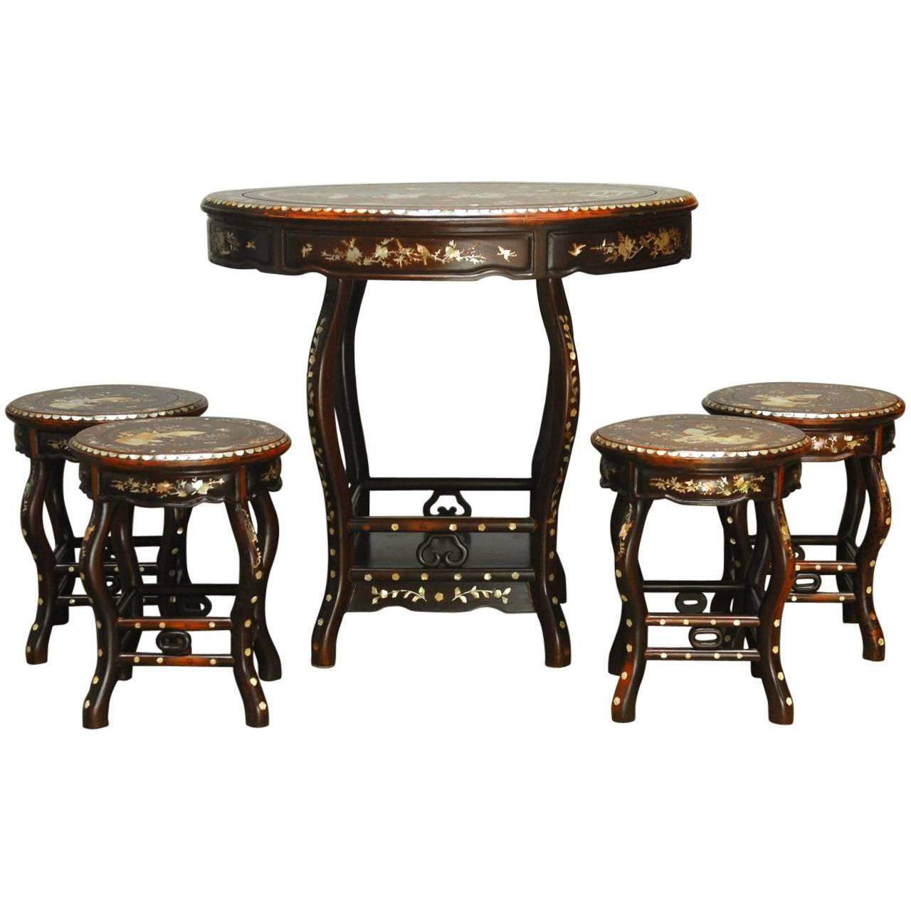 Chinese rosewood mother of pearl inlay tea table with for Oriental furniture hong kong
