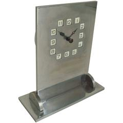 Rare German Art Deco/Secessionist Chromed Steel and Brass Geometric Desk Clock