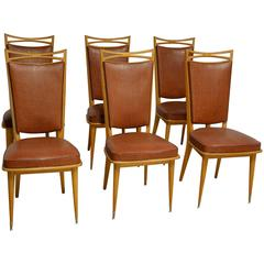 French Art Deco Side Chairs, Set of Six