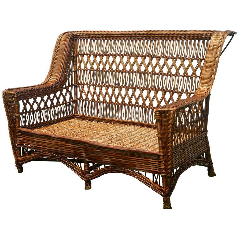 Antique Paine Furniture Willow Triple Cross Wicker Settee For Sale At 1stdibs
