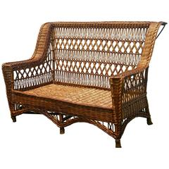 Antique Paine Furniture Willow Triple Cross Wicker Settee