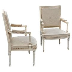Pair of Louis XVI Neoclassical Painted Armchairs