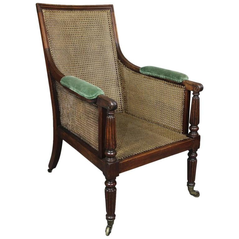 Regency Mahogany Caned Bergere Chair
