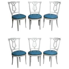 Set of Six Neoclassic Style Painted Dining Chairs