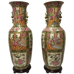 Pair of Chinese Rose Canton Porcelain Vases, circa 1900